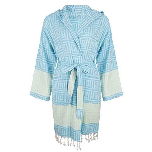 ZusenZomer Hamam Bademantel Damen - Baumwolle - Oeko-TEX® - Fairtrade Saunamantel Kimono Kapuzenmantel Badejacke (Türkis)