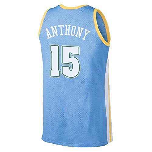 CCKWX Denver Nuggets # 15 Carmelo Anthony Basketball Vintages Basketballtrikot, Besticktes Klassisches Ärmelloses Unisex-Jersey-T-Shirt,B,L:180cm/75~85kg