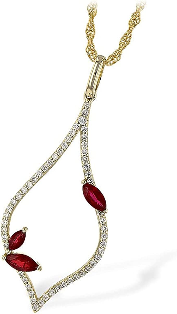 sold out 14K Yellow Gold Diamond and Surprise price Marquise Necklace Allison Kau Ruby