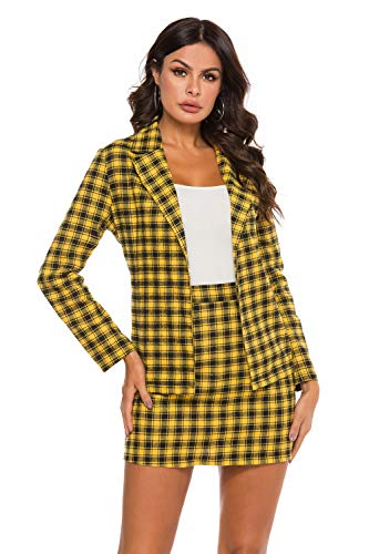HUILAN Women's Casual Plaid Blazer and Skirts Set Two Piece Outfit 2-Multi S