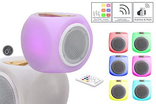 7even LED-Tischleuchte mit Bluetooth Lautsprecher Speaker mit Farbwechsel | LED Musikbox + infrarot Fernbedienung | mit hochwertigem Holzgriff und Akku…