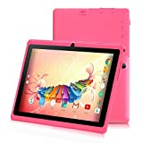 7 inch Tablet Google Android 6.0 Quad Core 1024x600 Dual Camera Wi-Fi Bluetooth,1GB/8GB,Play Store Netfilix Skype 3D Game Supported GMS Certified (Pink)