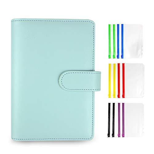 A6 PU Leather Notebook Binder, with 12pcs Color Plastic Binder Pockets for Money Saving Envelopes Organizer Storing Cash Bank Cards (Blue)