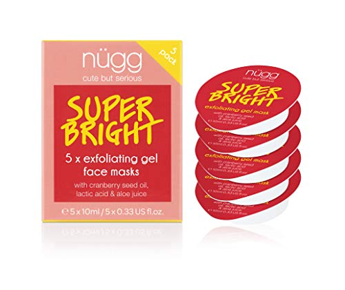 nügg Exfoliating and Skin Brightening Facial Skin Treatment; 93 Percent Natural and Microbead-Free; Pack of 5 Facial Skin Treatments; 5 x 0.33 fl.oz.