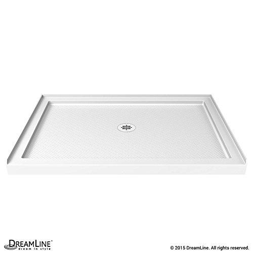 DreamLine SlimLine 36 in. D x 48 in. W x 2 3/4 in. H Center Drain Single Threshold Shower Base in White, DLT-1136480