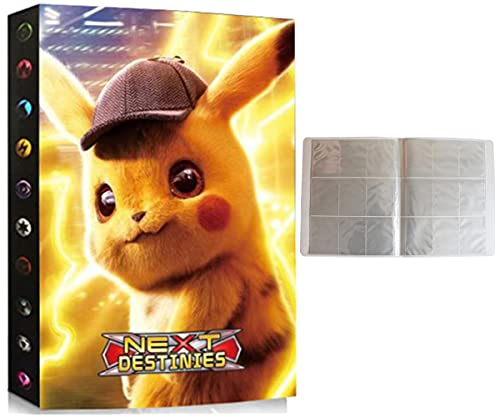 Album Compatible Con Cartas de Pokemon, Album Compatible Con Pokemon Para Cartas, Álbum de Pokemon, Carpeta compatible con Cartas Pokemon, Sostiene hasta 432 tarjetas (ZT-PIKACHU)