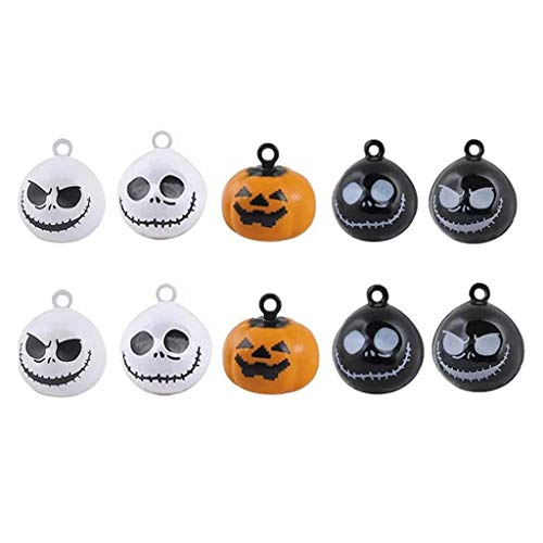 SHANGUP 10 Pieces Mini Pumpkin Bells Ghost Skull Bells Pet Collar Charm Bells Pendants fit for Halloween DIY Crafts Handmade Accessories