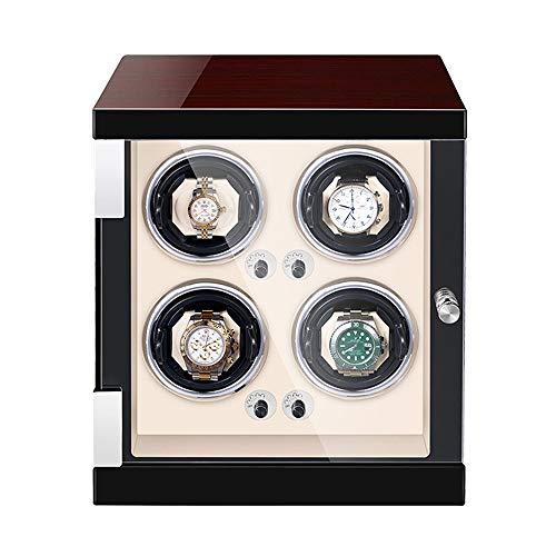 ZNND Automático Caja Enrolladora Reloj Exterior Pintura Piano Madera Almohadas Reloj Ajustables Motor Silencioso para Hombre Mujer Relojes (Color : White, Size : 4+0)