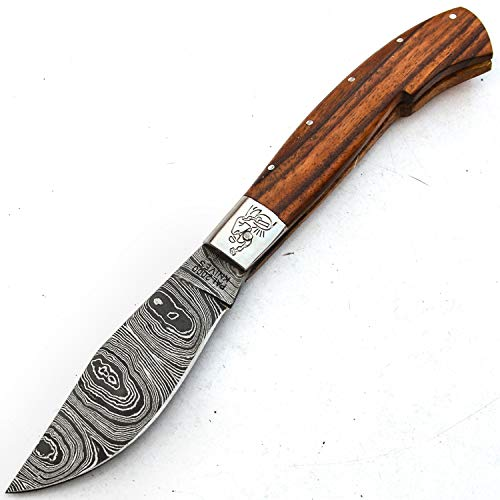 PAL 2000 Damascus Knives - Handmade Damascus Steel Folding Pocket Knife With Sheath - Unlockable Folding Knife - Buy With Confidence SPSN-9697