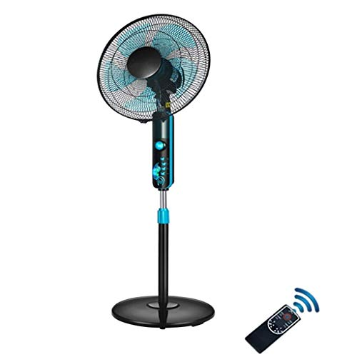 GOHHK Large Remote Control Oscillating Pedestal Fan with Built in Timer, Quiet 3-Speed Stand Fan Adjustable Height, 5 Blades, Black