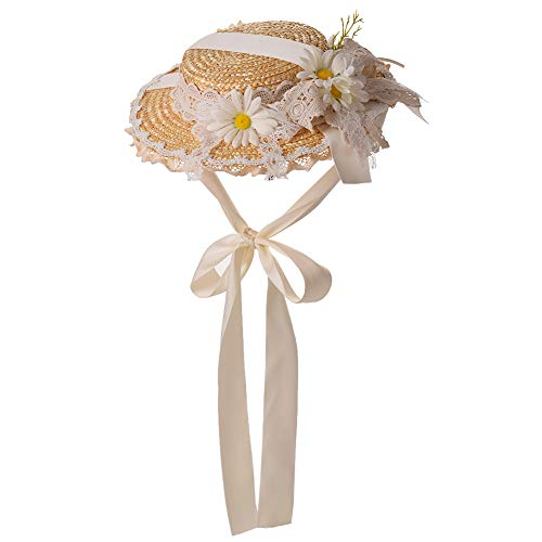 COSDREAMER Chicas Mujeres Tea Party Sun Hat Lolita Lace Ribbons Sombreros de paja (Blanco)