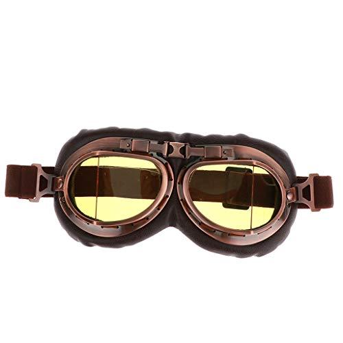prasku Retro Vintage Copper MotorcycleGoggle YellowLens Casco Gafas de Montar