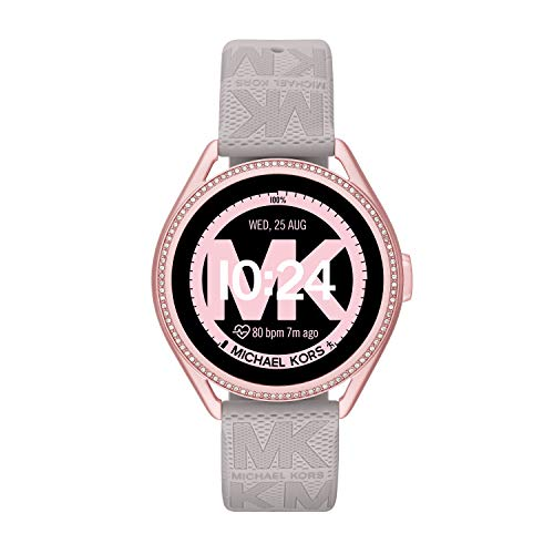 Michael Kors Women's MKGO Gen5e Silicone Touchscreen Smartwatch, Color: Gray (Model: MKT5117)