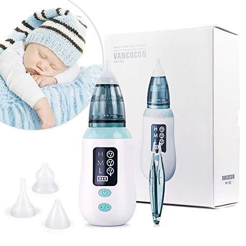 Aspirador nasal, limpiador de nariz de carga USB Ultpeak con 3 niveles de succión, removedor de cera del oído con 3 boquillas de lechón reutilizables para bebés y niños pequeños