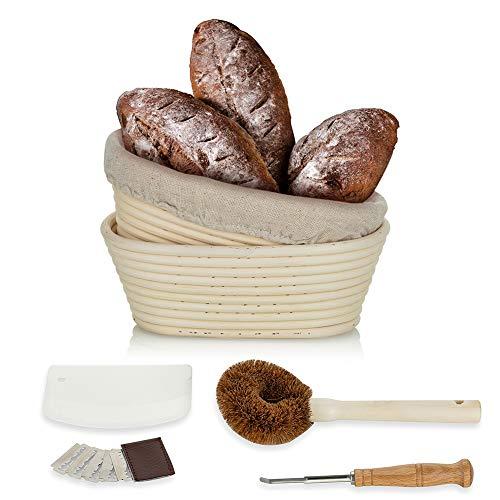 Sziqiqi Gärkörbchen Oval Set Garkorb Brot Banneton Proofing Basket 21cm Oval Bread Proofing Basket 2 Stück Artisan Sauerteig im französischen Stil für Proofer Brotform