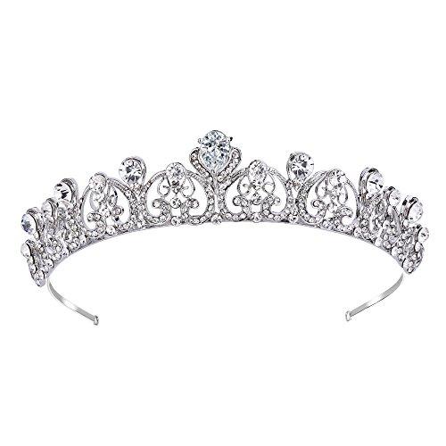 EVER FAITH Damen Haarband Strass Kristall CZ Braut Romantische Liebe Herz Krone Klar Silber-Ton