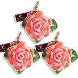 LABOTE Handgemachte thailändische Bio Naturseife Rose Rosa mit typischem Duft, 3 Stück