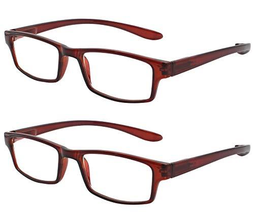 TBOC Gafas de Lectura Presbicia Vista Cansada - (Pack 2 Unidades) Graduadas +4.00 Dioptrías Montura de Pasta Marrón Patillas Extra Largas Colgar Cuello Hombre Mujer Unisex de Aumento Leer Ver Cerca