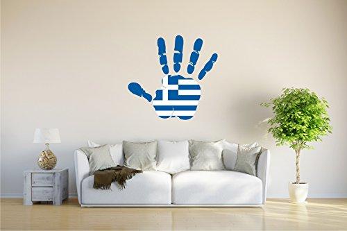 Wandtattoo - CH - Fahne in der Hand - Greece - Griechenland - 75x70 cm