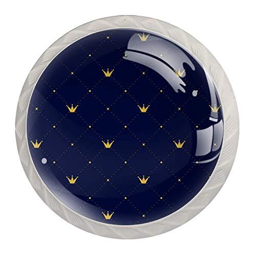 Perillas de gabinete de cocina Perillas decorativas redondas Gabinete Cajones de armario Tirador de tocador 4PCS Princesa Azul marino