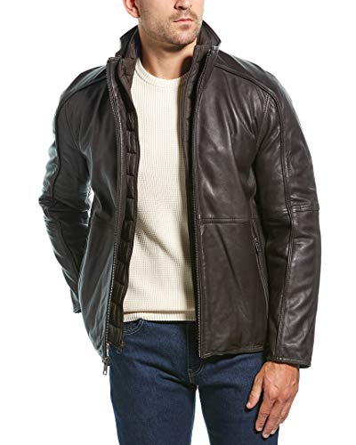 Marc New York by Andrew Marc Men's Hartz Lambskin Leather Jacket with Bib, Espresso, Large