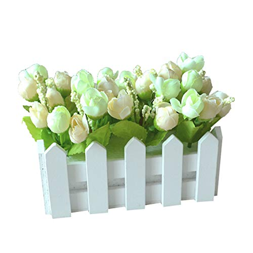 Flikool Roses Plantes Artificielle avec Clôture Fleurs Artificiel in Pot Truque Bonsai Decoration Ornements Maison Mariage Terrasse Saint-Valentin Deco 16 * 8.5 * 12cm - Vert