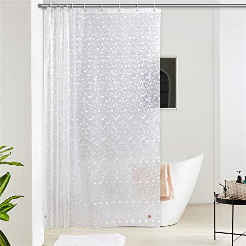 Furlinic 180x180 Duschvorhang Transparent Anti-schimmel in Badezimmer Vorhang für Badewanne Dusche aus Eva Wasserdicht mit 12 Duschvorhangringe 3D Effekt Kieselstein Saum mit Steinen.