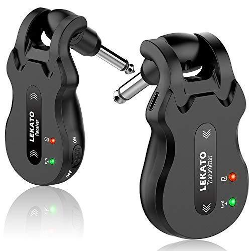 LEKATO - Sistema ricetrasmettitore digitale senza fili per chitarra e basso, ad alta frequenza, 5,8 GHz, ricaricabile