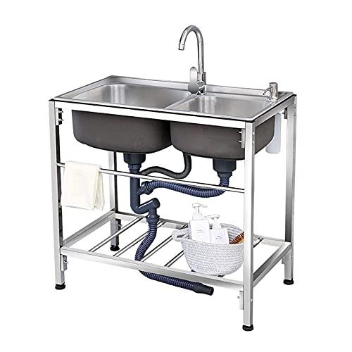 HYDL Organizador Fregadero Cocina, Fregaderos comerciales de dos senos con soporte, fregadero de preparación de cocina con pedestal de acero inoxidable y fregadero con grifo