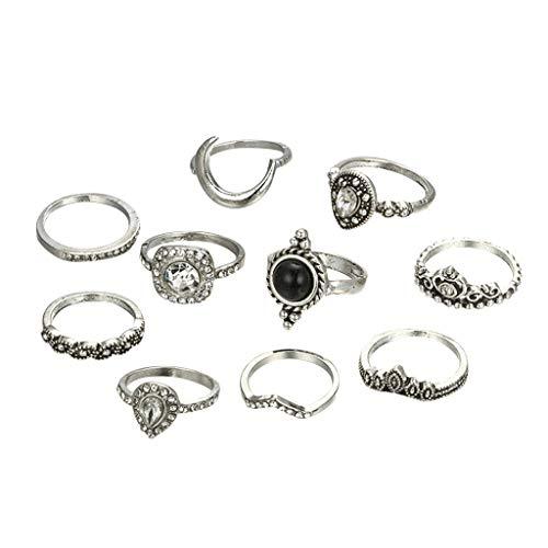 UKtrade Vintage Bohemia Opal nudillo articulación anillos conjunto para las mujeres color oro flor corona luna dedo anillos joyería 10 unids/set
