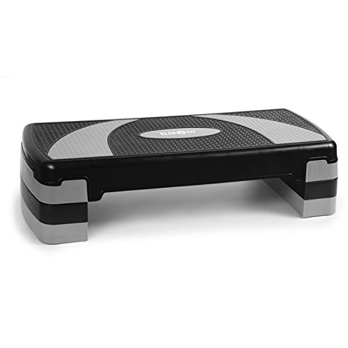 Klarfit Aerobic step (gradino per fitness, 250kg, regolabile in tre altezze, supporto antiscivolo, antigraffio, antirumore, sistema Klick) - grigio