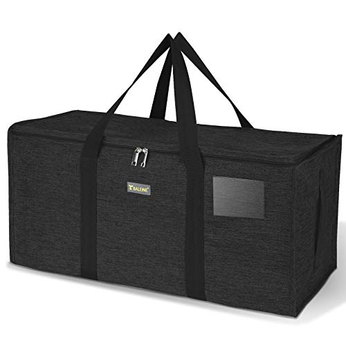 BALEINE Extra Large Storage Tote with Zippers & Carrying Handles, Heavy-Duty Oxford Fabric Moving Bags for Laundry, Space Saving, Storage, Charcoal Black