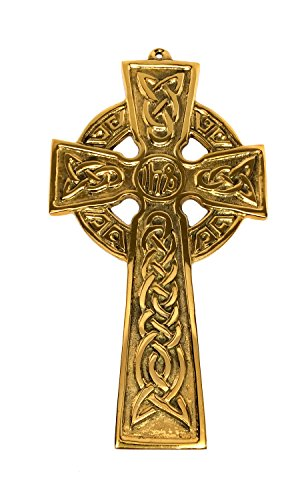 Celtic Cross Wall Hanging Large Celtic Wall Cross Brass 6 3/4' Tall by 3 3/4' Wide Ready to Hang