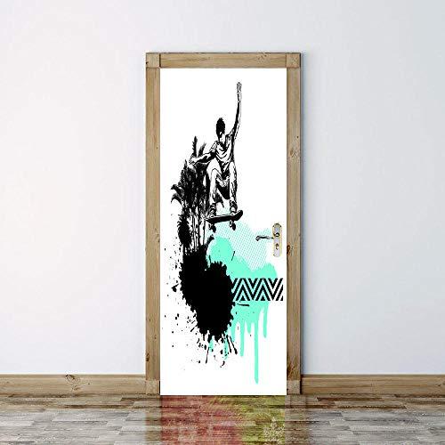 geen merk Deur Mural Skateboard 3D Woonkamer Slaapkamer Kantoor Huis Home Decor Kwekerij Restaurant Café Hd Creative Poster.77X200Cm