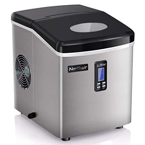 Northair Compact Ice Maker 35lbs Per Day with Timer, S-M-L 3 Sizes Bullet Ice with Ice Scoop, Produces 9 Ice Cubes at a Time within 7-15 Minutes, LCD Display