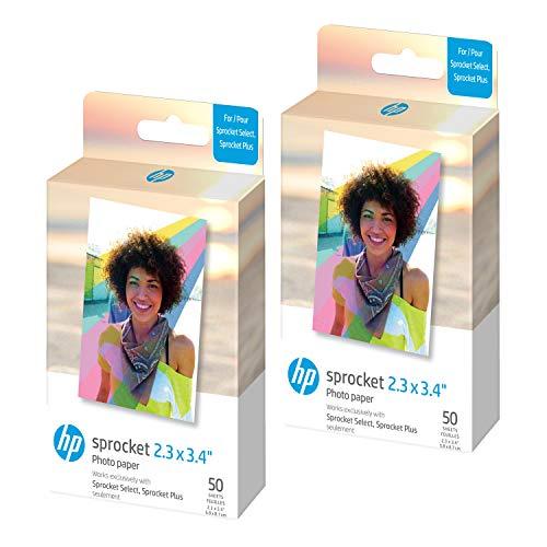 HP Sprocket 2,3 x 3,4 Premium Instant Zink Sticky Back Lot de 100 feuilles de papier photo compatible avec les imprimantes HP Sprocket Select et Plus.
