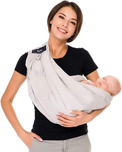 CUBY Wiege Schlinge Babytrage für Säuglinge und Kleinkinder Neugeborene und Stillen (Grau)