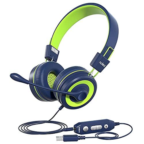 Cuffia PC con Microfono, Over-head Cuffie per PC Suono Stereo & Cancellazione del Rumore, Auricolare Business per Call Center, Skype Zoom MS, Cuffie USB/3.5 mm per PC/Laptop/Pad, Blu