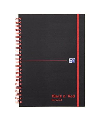 Black n'Red-Taccuino a doppia spirale, carta riciclata, formato A5, con elastico, colore: nero/rosso
