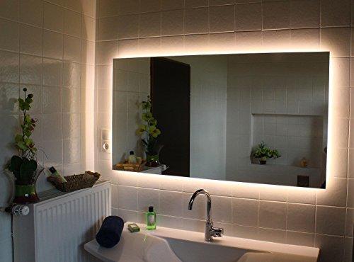 LED Hinterleuchteter Badspiegel Nova Spiegel in 80 x 60 cm in 5mm Stärke mit Beleuchtung Wandspiegel Lichtspiegel