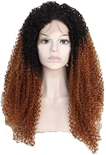 Hermosas pelucas, Europeo y pelucas transpirables delanteros de encaje químico de fibra química larga y rizado señoras degradado negro marrón mullido se puede teñir 12-26 pies (tamaño: 14 ') para uso