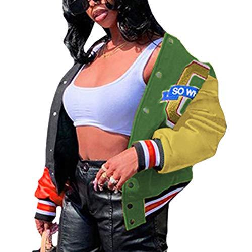 Shownicer Bomberjacke Damen Sweatjacke Frauen College Sweat Jacket Reißverschluss Oversized Patchwork Jacke Vintage Druck Jacken Baseball Mantel Grün XL