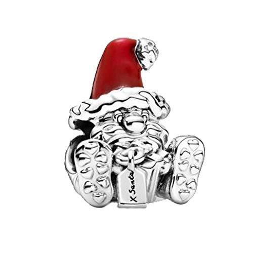 Pandora 925 plata esterlina colgante DIY moda nueva plata esterlina granos sentados Santa Claus y encanto regalo se adapta a la pulsera original Pandora joyería de Navidad