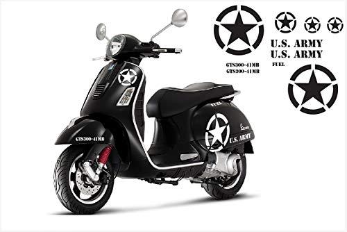 SUPERSTICKI Vespa Stern Set US Army Motorrad Bike Motorcycle Aufkleber Bike Auto Racing Tuning aus Hochleistungsfolie Aufkleber Autoaufkleber Tuningaufkleber Hochleistungsfolie für alle gla