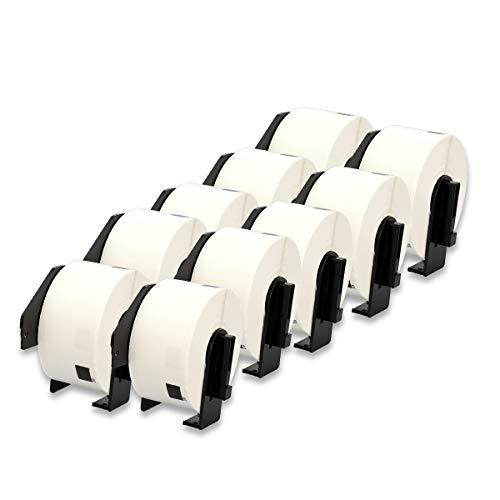 DOREE DK-11208 38 mm x 90 mm großes weißes Papier Adress-Etiketten kompatibel für Brother P-Touch QL-500 QL-500BW QL-570 QL-580 QL-700 QL-710W QL-800 QL-810W QL-820NWB 10 Rollen