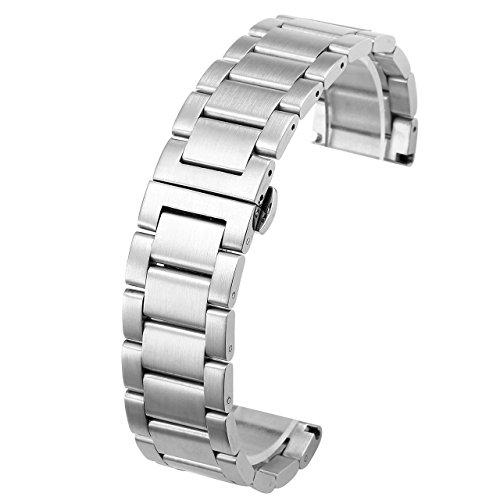JSDDE Uhrenarmbänder Edelstahl Uhrenarmband mit Butterfly-Faltschließe Metall Uhr Armband Watch Band Strap Ersatzband Uhren Band Silber 20mm 22mm (20mm)