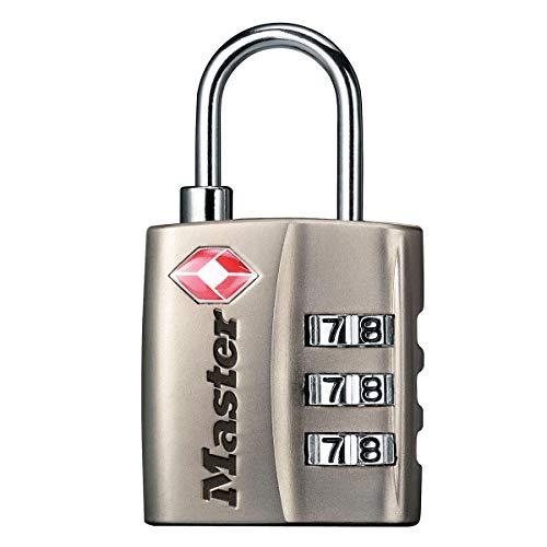 Master Lock 4680EURDNKL Lucchetto per bagagli approvato dalla TSA con combinazione, Grigio, 5.5 x 3 x 2.6 cm