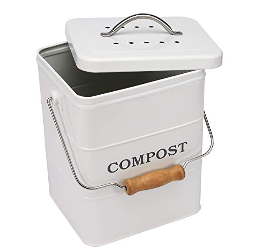 Indoor Kitchen Compost Bin for Kitchen Countertop Great for Food Scraps Carbon Steel Handles White 1 Gallon - Includes Charcoal Filter - White