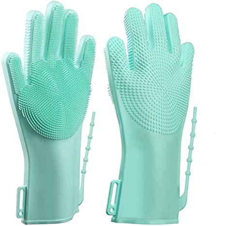 ALCIONO - Guanti per lavare i piatti, riutilizzabili, in silicone, con lavabo, guanti in gomma per cucina, fascia regolabile, guanti per la pulizia dello scrub (1 pz) (verde)