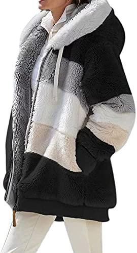 Tekaopuer Abrigo con capucha para otoño e invierno con cremallera, chaqueta con capucha de forro polar de peluche, sudadera con capucha suelta de felpa mullida con bolsillos, Negro, XXL
